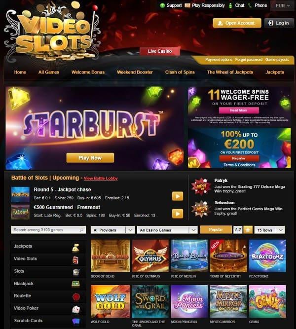 Videoslots 11 free spins bonus on Starburst