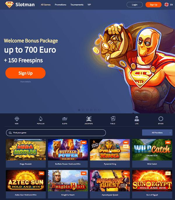 700 EUR bonus and 150 free spins on slots