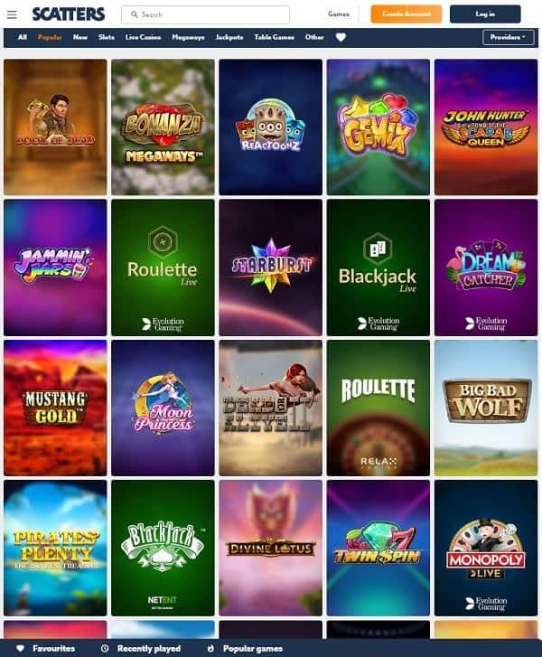 Scatters Casino slots, live dealer, table games, jackpot