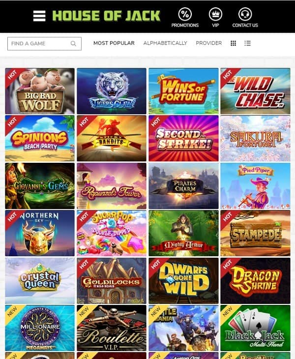 House of Jack Casino free spins games