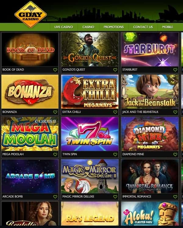 GDay Casino Review   60 free spins + $/€/500 exclusive welcome bonus
