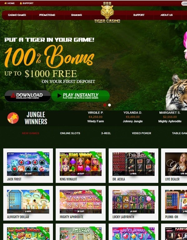 888 Tiger Casino free spins, free chip, no deposit bonus