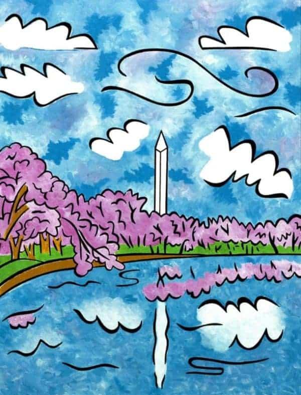Washington Monument cherry blossoms painting