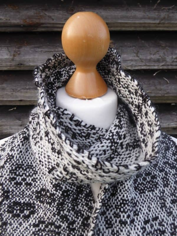 handwoven black and white scarf