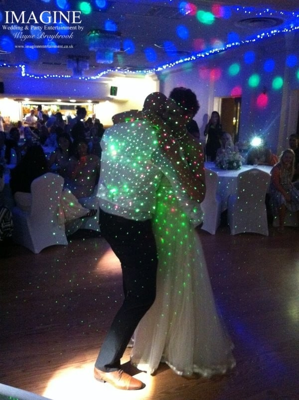 Laser dots on the first dance photos