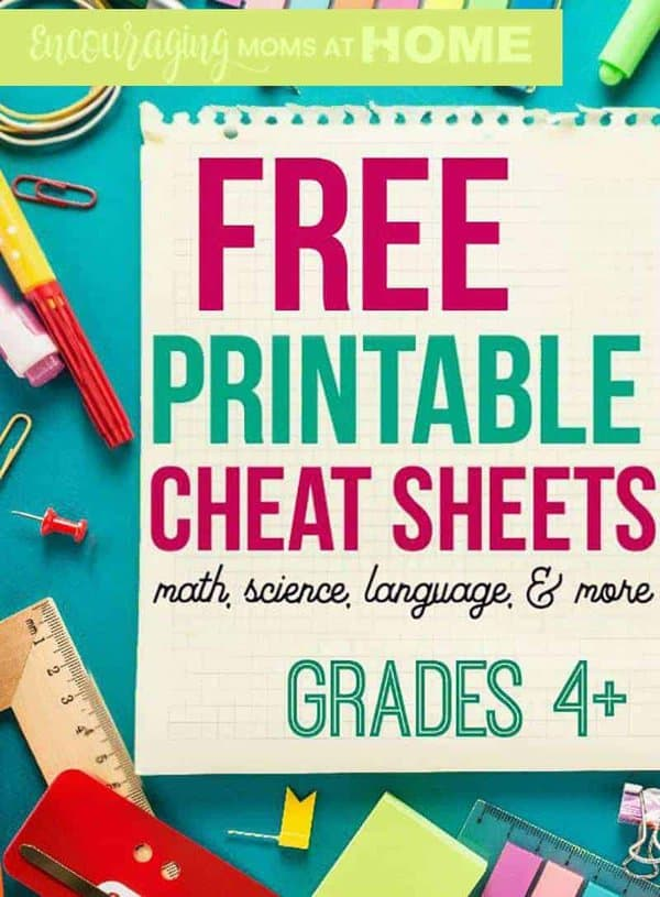 Free Printable Cheat Sheets for Grades 4-12