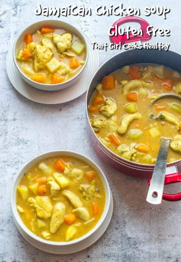 Delicious warm and hearty Jamaican chicken soup with homemade cock so