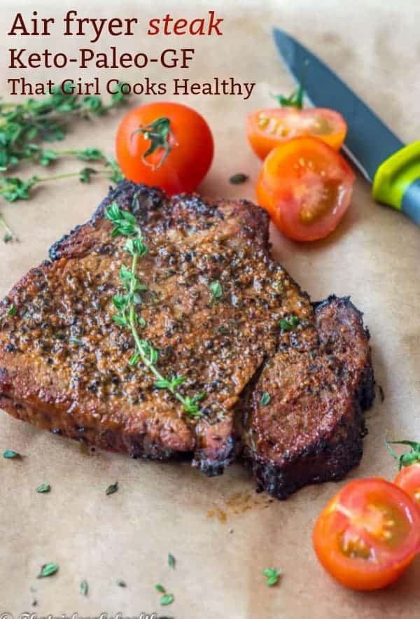 Delicious air fryer steak that well done and generously seasoned