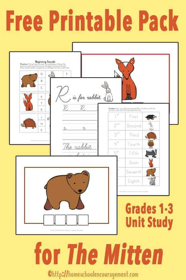 Are you a Jan Brett fan?  Take a look at our FREE printable unit study based on The Mitten for Grades 1-3 complete with activities such as sorting, beginning sounds, spelling, and more.