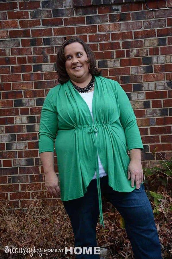 green cardigan for fat women from Kiyonna