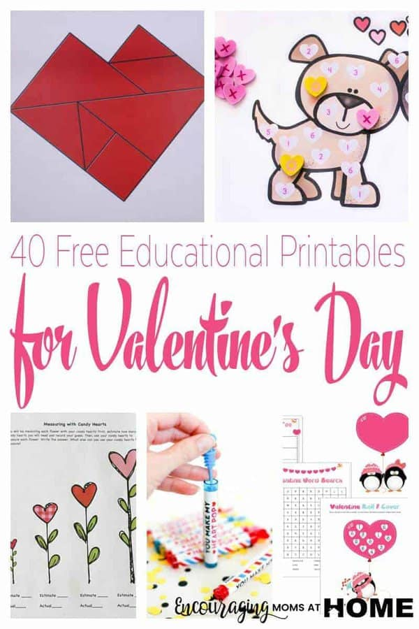 Valentine's Day is a great time to add a little fun to your homeschool. Take a look at this list of FREE printable Valentine's Day activities that are fun and educational. We have included ideas for a variety of ages too! #valentinesday