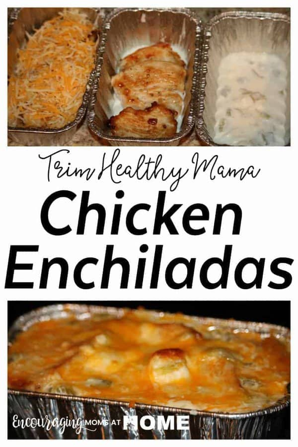 These Trim Healthy Mama Chicken Enchiladas are easy to make in single servings for the freezer. They are an S meal on the Trim Healthy Mama plan.