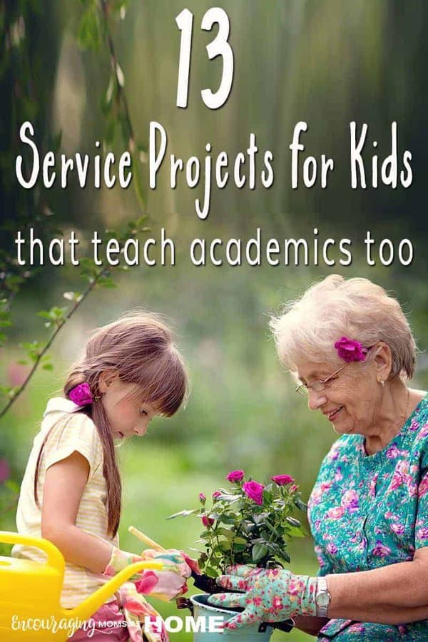 Young girl helps elderly lady plant flowers as one example of a service project for kids.