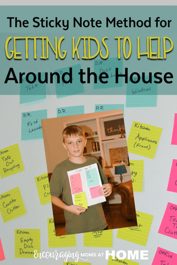 Looking for a fun way to get your kids to help out around the house?  Try the Sticky Note Method! You can color coordinate by room, number the tasks, etc.  However you set your Sticky Note Method up, it is sure to be fun for the whole family and a great way to tackle everything on your cleaning list.