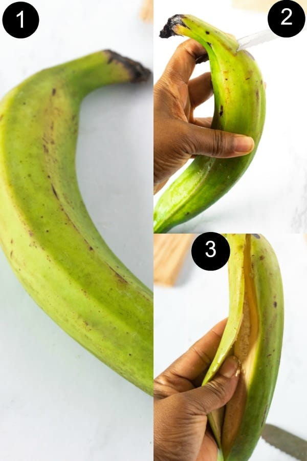 Step by step guide how to peel plantain for jerk plantain chips
