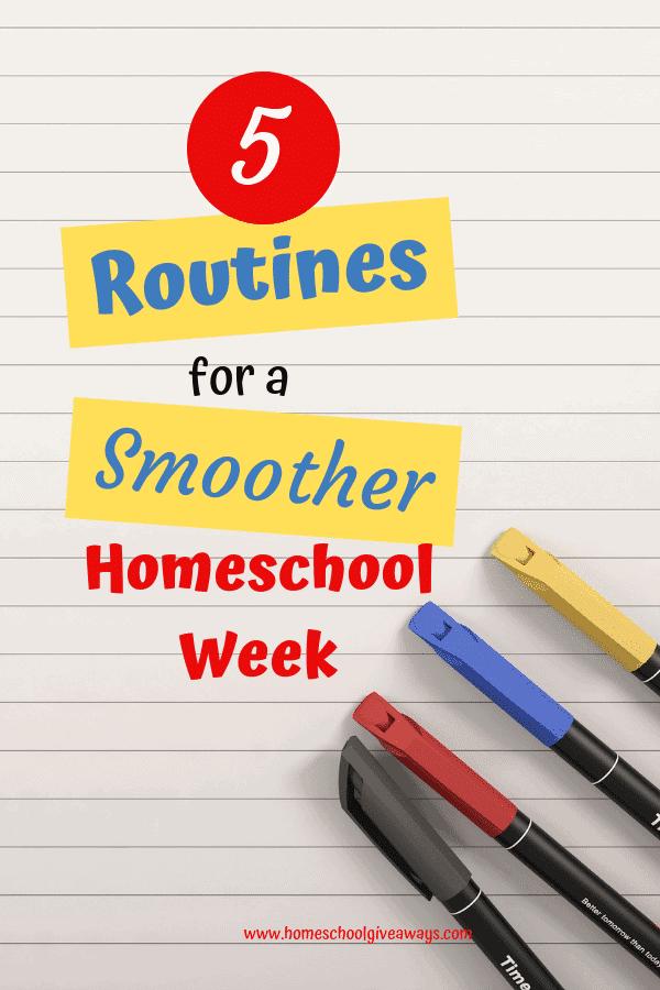 These 5 routines will help your homeschool week run so much smoother. #homeschooltips #homeschool #homeschoolroutine