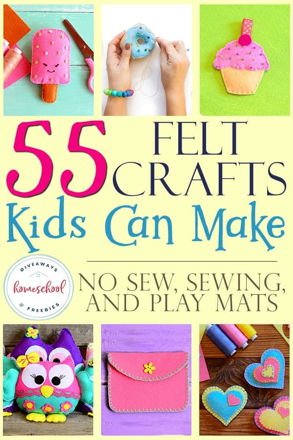 collage of felt crafts kids can make