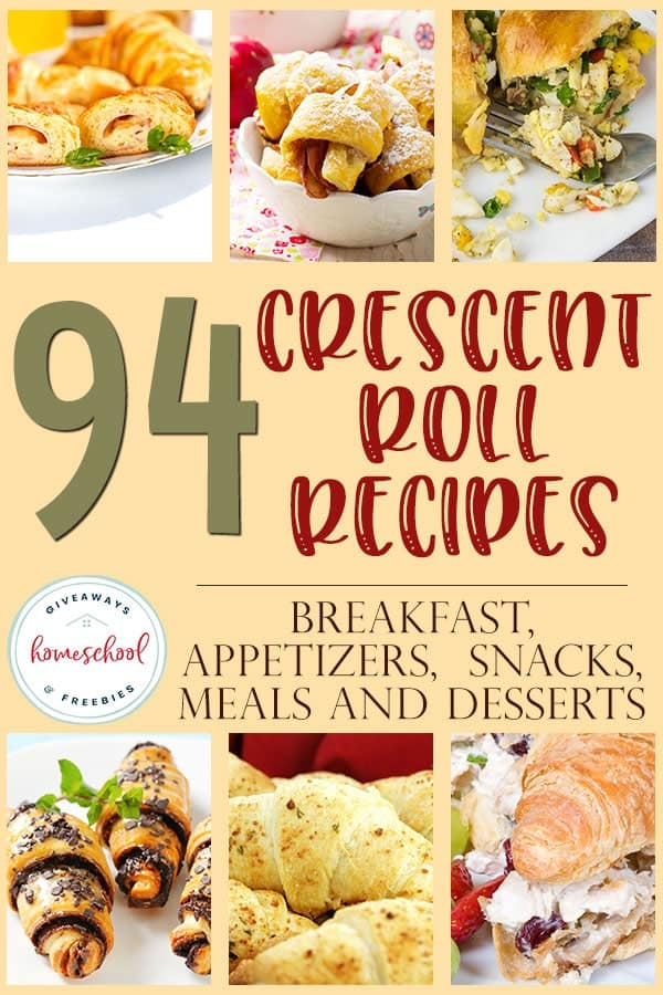Who knew there were so many different ways to use crescent rolls! I love these recipes and the versatility they offer. You'll find recipes for breakfast, appetizers, snacks, meals and desserts. #recipes #crescentrolls #newrecipes #hsgiveaways