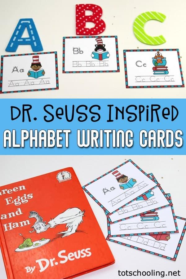 Seuss Inspired Alphabet writing cards