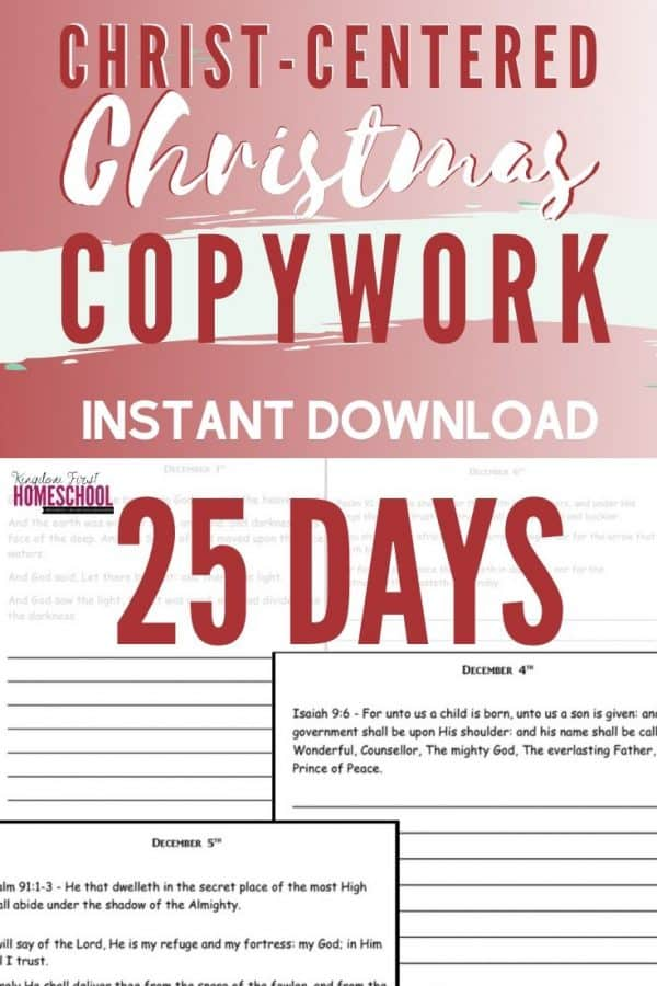 Making sure our kids focus on the true meaning of Christmas can get swept away in the busyness of the season. This Christ-Centered Christmas Copywork can help bring the focus back. With this 25 days of scripture they will literally write the word on their heart throughout the month of December.