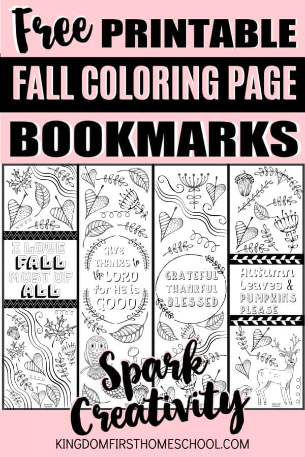 These fun and free Fall Printable Coloring Page Bookmarks are a great way to keep your kids busy, spark creativity, and encourage reading over holiday break, while highlighting the important reminder of being Thankful and Grateful! / printable bookmarks / coloring bookmarks / fall coloring pages / Adult coloring pages / kids coloring pages