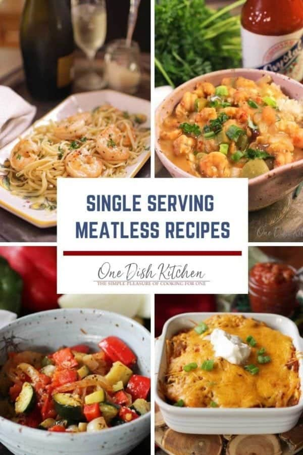 four photos of meatless recipes in a grid.