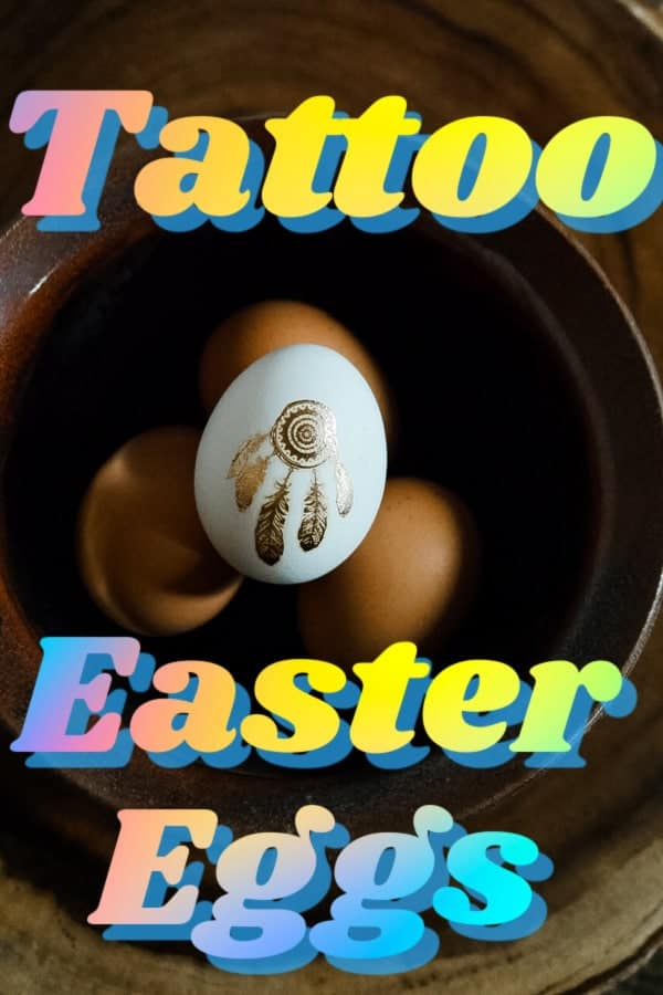 Tattoo Easter eggs pin image.