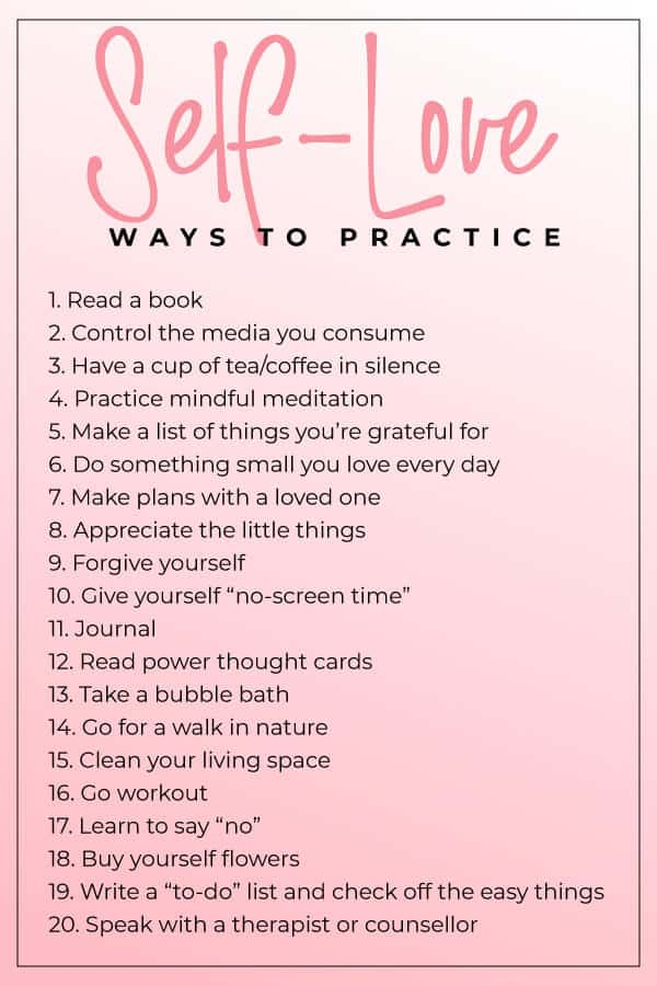 list of ways to practice self love