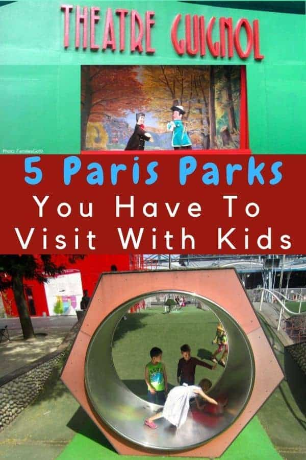 Need ideas for things to do in paris with kids? Just find the nearest park. Paris has amazing city parks with playgrounds, trampolines, zip lines, carousels, and more. Parents will find a good café au lait and maybe a glass of wine! #paris #kids #vacation #ideas #thingstodo #parks #playgrounds #puppets #guignol #tuilleries #jardinluxembourg