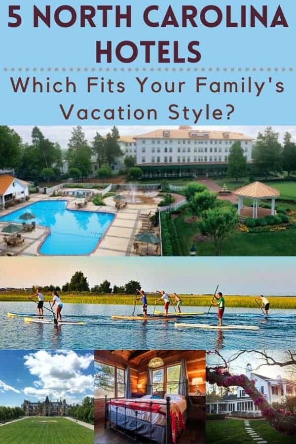 Rustic mountain inn, beach resort, woodsy family resort? These 5 north carolina hotels suit every family's vacation style. #vacation #family #ideas #inspiration #hotels #resorts #inns #mountains #beach #kids