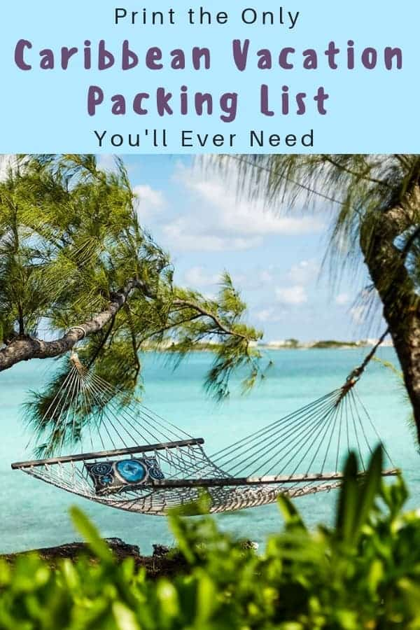 A printable packing list for caribbean family vacations. All the clothes, gear and accessories you need to have fun and keep sunburn aways. #packinglist #moms #kids #caribbean #vacation #printable