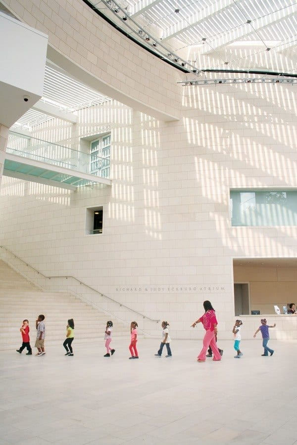A group of kids explore the modern art at family friendly jepson center in savannah, ga