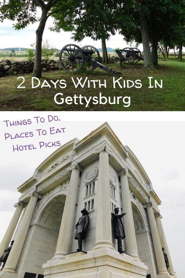A weekend in gettysburg, pa with kids: tips on restaurants, hotels, how to tour the battlefield, fun things to do. #gettysburg #pa #nps #nationalbattlefieldsit #erniesweiners #edselephantmuseum #civilwarsites