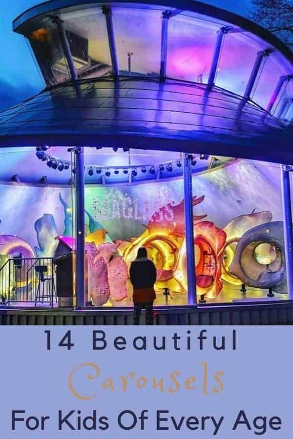 From vintage to modern and all uniquely beautiful. Here are 14 merry-go-rounds to ride with your kids this summer. Some are in theme parks, others pop up in unexpected places. #carousel #merrygoround #vintage #kids #themeparks #museums #summer #fun