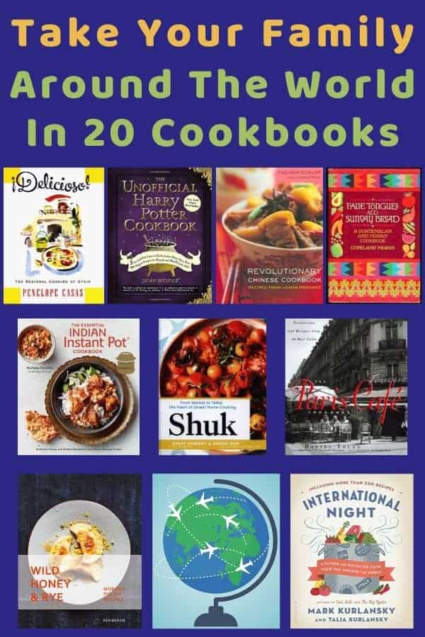 20 cookbooks with ideas, inspiration and easy recipes to cook with your kids. Discover new foods and world cultures over dinner. #food #cookingwithkids #travel #inspiration #recipes #staycation #worldschooling