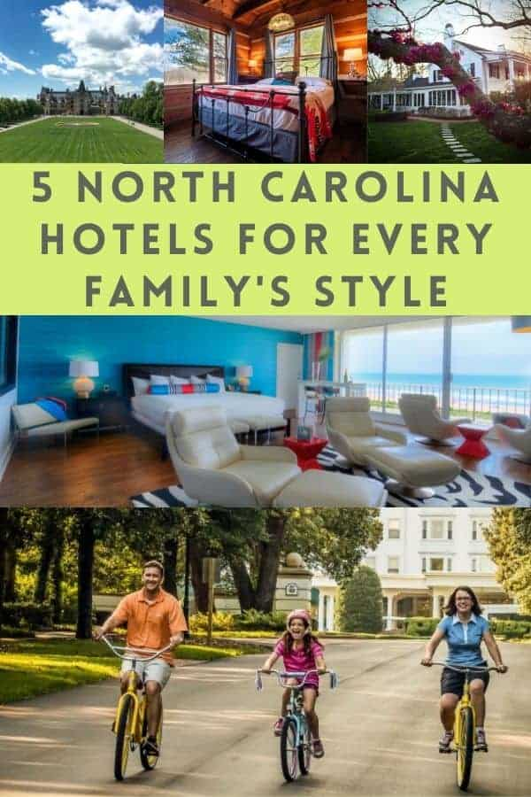 North carolina has resorts at the beach, in the mountains and in between. Which of these 5 suit your family's vacation style? #hotels #resorts #inns #family #kids #vacation #ideas #inspiration #northcarolina #beach #mountains