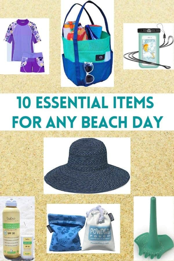 Here is the perfect tote bag for the beach, plus 9 items every mom will want to keep her kids sun-safe and having fun. #beach #vacation #staycation #planning #packing #list #tote #sandtoys #sunscreen #sunhat
