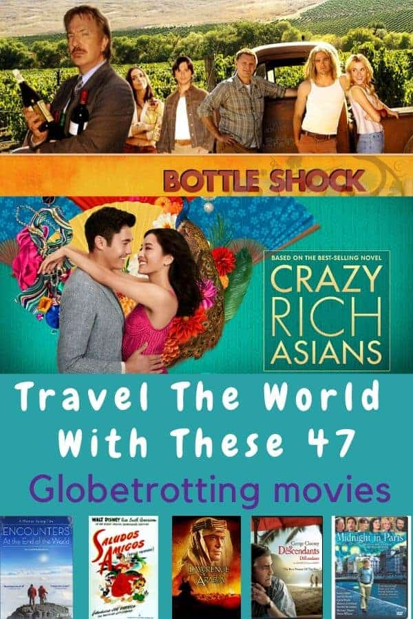 Travel the world with these 47 movies and shows that are known as much for their scenery and locales as they are for their plots and stars. This is your staycation streaming list. #movies #tv #travel #staycation #inspiration #streaming #family #kides #teens #adults