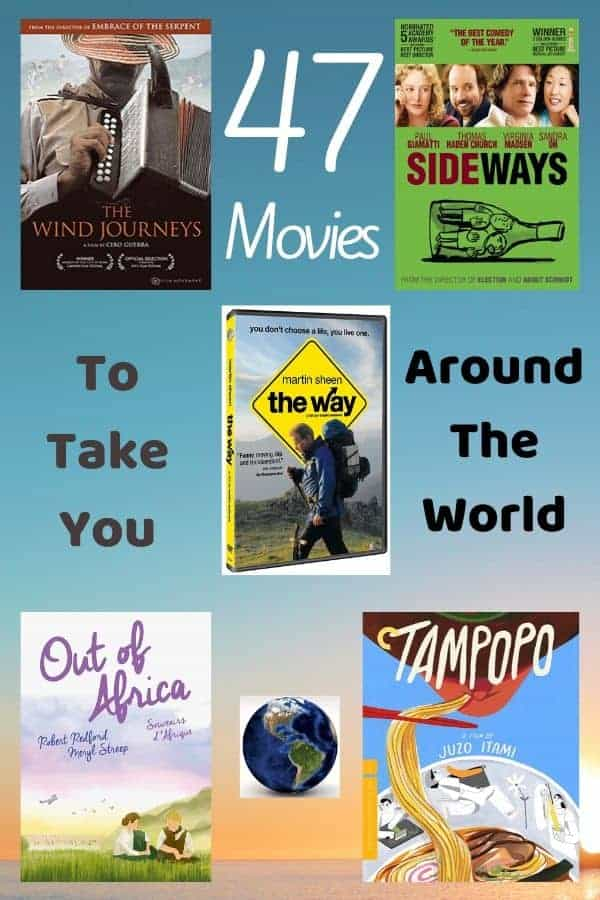 47 movies and tv show that carry you away, even when you can't leave home. Stream these travel movies for families, teens and adults. #travel #movies #staycation #ideas #family #kids #vacationathome