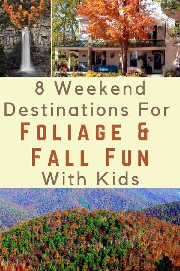 8 fall foliage road trips you can do with kids. Places to stay, things to do after you finish leaf-peeping. #fall #foliage #roadtrip #ideas #destinations #kids #fallfun