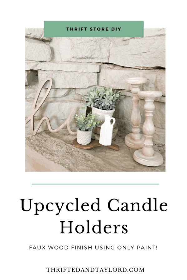 Want some modern farmhouse style, bleached wood candle holders without having to go through the whole sanding, stripping, and staining process? Find out how I turned these upcycled candle holders which were super dark stained, into these gorgeous faux bleached wood candle holders using only paint!