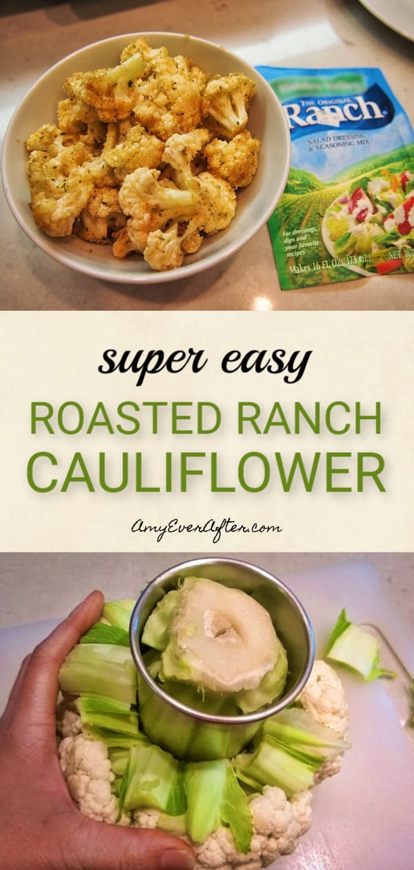 Looking for a super-easy and healthy way to cook cauliflower? I've got an easy recipe for roasted cauliflower with a delicious ranch twist! The prep is quick, and if you're counting Weight Watchers points or calories or going low carb, this delicious vegetarian side dish is an excellent choice! #recipe #healthy #lowcarb #vegetarian