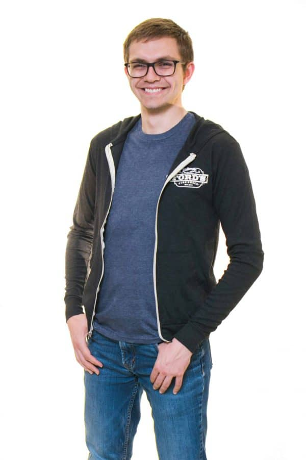 Front of Ford's Fish Shack Hoodie worn unzipped with hoodie down in Rich Gray