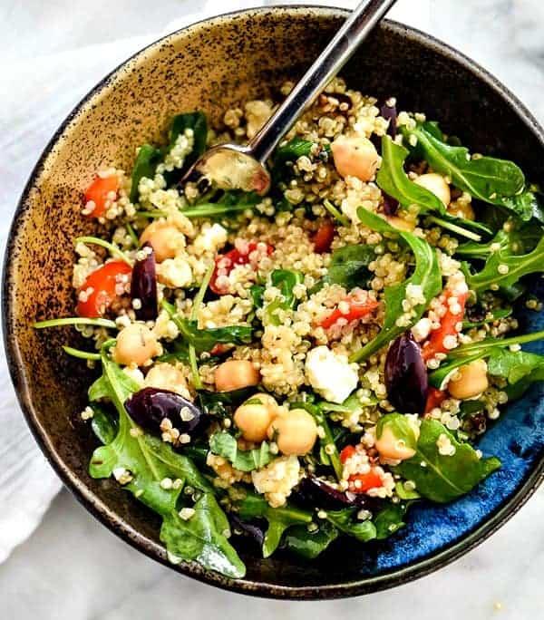10 Salad Recipes Perfect for Summer - Mediterranean Quinoa Salad from Foodiecrush