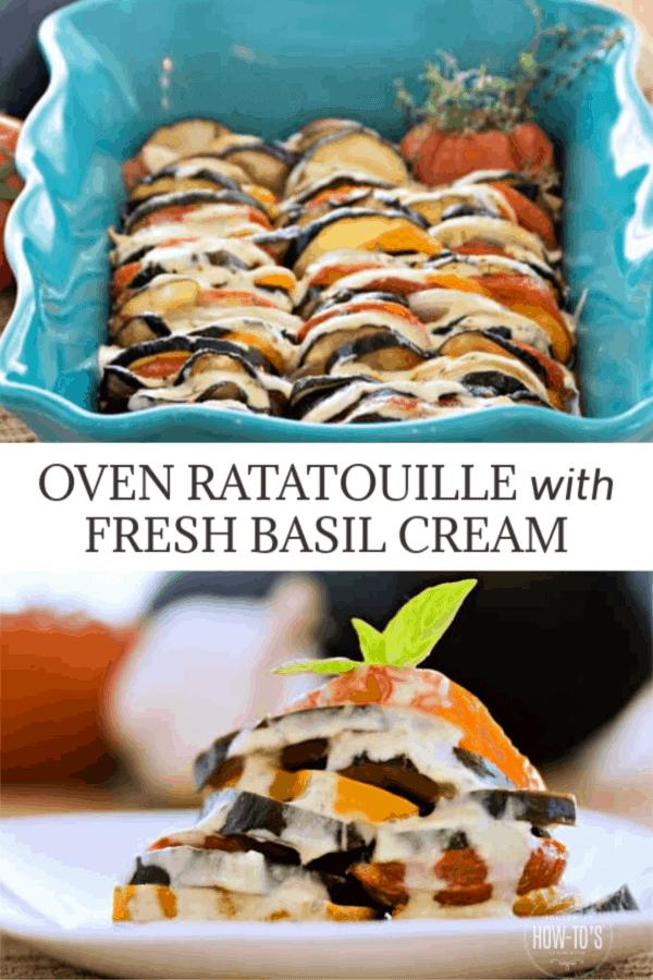 Ratatouille Recipe topped with Fresh Basil Cream
