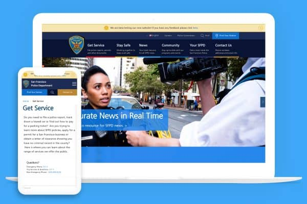 San Francisco Police Department website on multiple devices