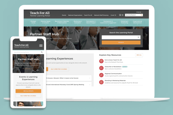 Teach For All on desktop and mobile