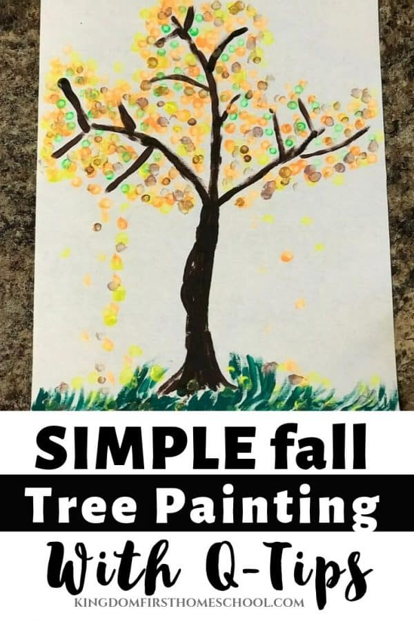 Create this simple fall tree painting using 3 supplies you probably already have. This is Day 2 of our 31 Days of Fun Fall Arts and Crafts for Kids.