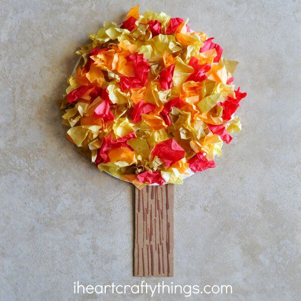 Tissue paper fall tree for the 31 days of fun fall arts and crafts for kids