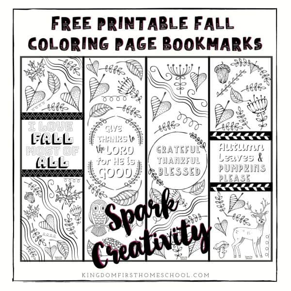 Free Printable Fall Coloring Page Bookmarks